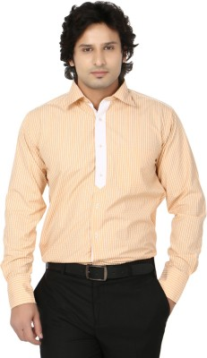 Side Effects Men's Striped Casual Yellow, White Shirt