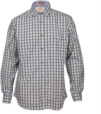 Guugu Men's Checkered Casual White, Beige, Blue Shirt