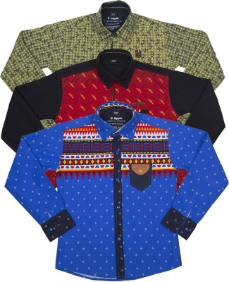 G-apple Boy's Printed Casual Blue, Red, Yellow Shirt