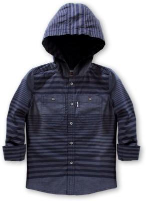 Levis Kids Baby Boy's Striped Casual Dark Blue Shirt