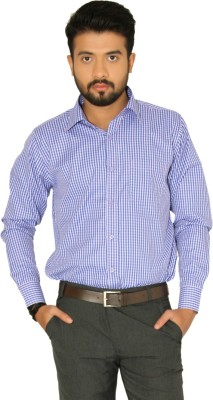 Indian Weller Men's Checkered Formal Purple Shirt