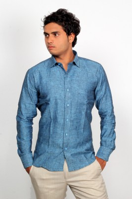 Green Bows Men's Self Design Formal Linen Dark Blue Shirt