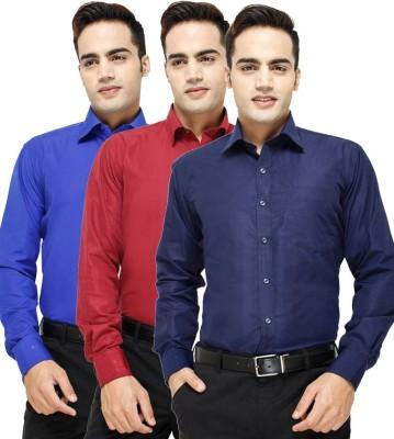 VKG Men's Solid Formal Multicolor Shirt(Pack of 3)