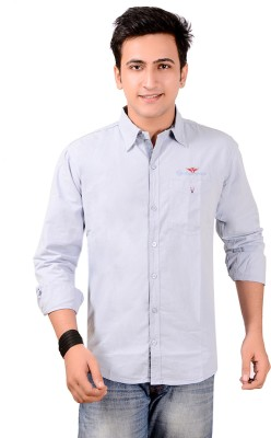 Anry Men's Solid Casual Blue Shirt