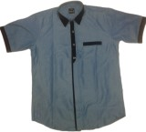 RC Men's Self Design Casual Blue Shirt