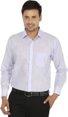 X-Cross Men's Self Design Formal Purple Shirt