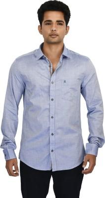 Hackensack Men's Self Design Casual Blue Shirt