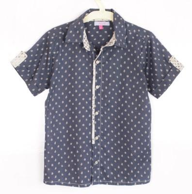 Nana Baby Boy's Floral Print Casual Dark Blue Shirt