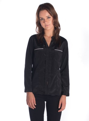 Miss Rich Women's Solid Casual Black Shirt