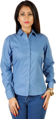 Hugo Chavez Women's Solid Formal Blue Shirt