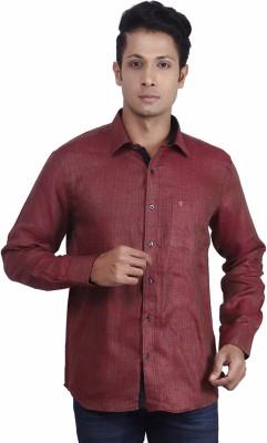 Nanya Men's Solid Casual Linen Maroon Shirt