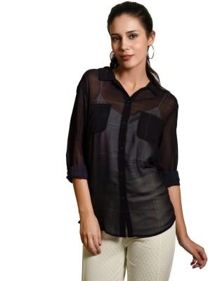 Curvy Q Women's Solid Casual Black Shirt