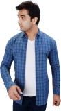 Equipoise Men's Checkered Casual Blue Sh...