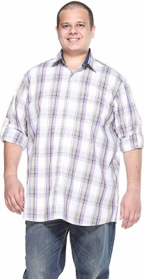 PlusS Men's Solid Casual Purple Shirt