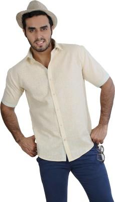 Just Differ Men's Self Design Casual Light Green, Yellow Shirt