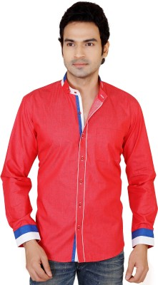 X-Secret Men's Self Design Casual Red Shirt