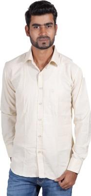 Sealion Men's Solid Casual Beige Shirt