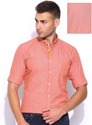 Mast & Harbour Men's Striped Formal Orange Shirt