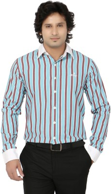 Blimey Men's Striped Formal Blue, Red, White Shirt