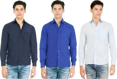 Atmosphere Men's Solid Casual Blue, Dark Blue, Light Blue Shirt