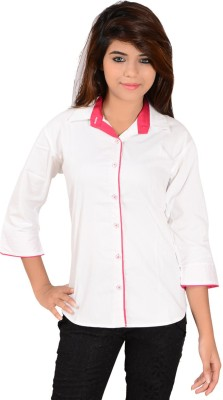Jazzy Ben Women,s Solid Casual White, Red Shirt