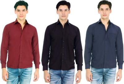 Atmosphere Men's Solid Casual Maroon, Black, Blue Shirt