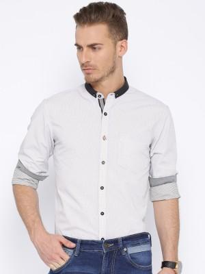 Harvard Men's Printed Casual White Shirt