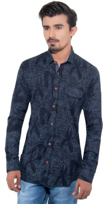 Grey Booze Men's Printed Casual Blue Shirt