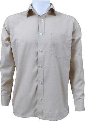 Ardeur Men's Solid, Self Design Formal, Festive Beige Shirt