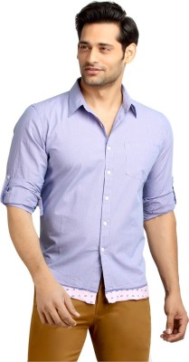 London Bee Men's Checkered Casual Purple Shirt