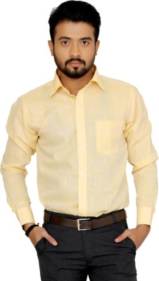 Indian Weller Men's Woven Formal Linen Yellow Shirt