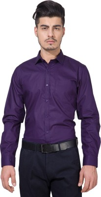 Black Coffee Men's Solid Formal Purple Shirt