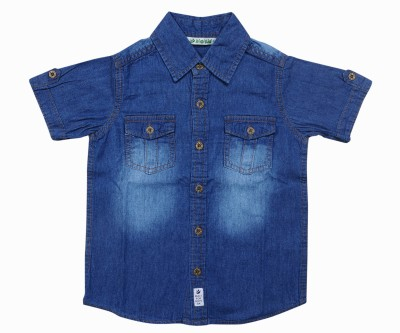 Bio Kid Boy's Solid Casual Blue Shirt