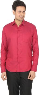 Adhaans Men's Solid Formal Maroon Shirt