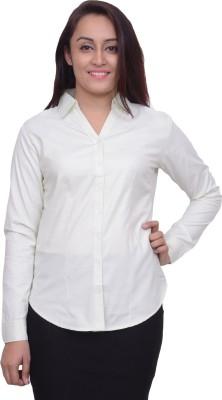 Snoby Women's Solid Formal White Shirt
