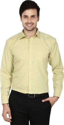 Spaky Men's Striped Formal Yellow Shirt