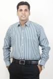 Siera Men's Striped Formal Green Shirt
