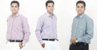 Siera Formal Shirts (Men's) - Siera Men's Striped Formal Red, Purple, Green Shirt(Pack of 3)