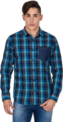 Derby Jeans Community Men's Checkered Casual Blue Shirt