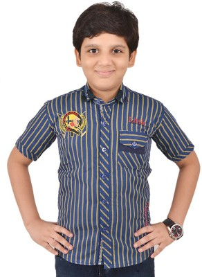 Little Dabang Boy's Striped Casual Blue Shirt