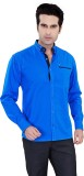 Jazzup Men's Solid Casual Blue Shirt