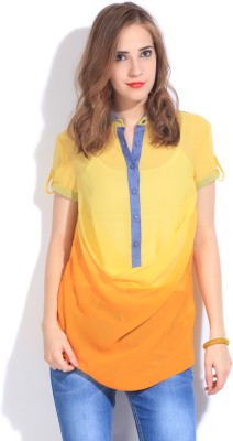Remanika Women,s Solid Casual Yellow, Orange Shirt