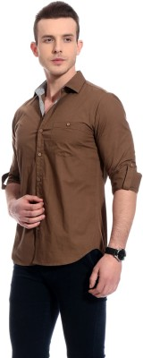 Bolt Men's Solid Casual Brown Shirt