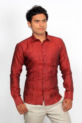 Green Bows Men's Self Design Formal Linen Red Shirt