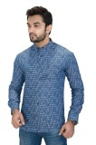 Equipoise Men's Printed Casual Light Blu...