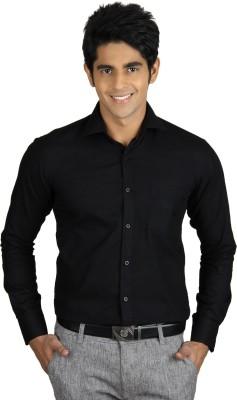 Qpark Men's Solid Formal Linen Black Shirt