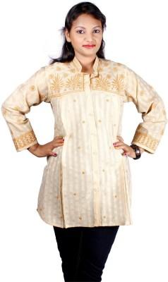 Modrich Women's Embroidered Casual Beige Shirt