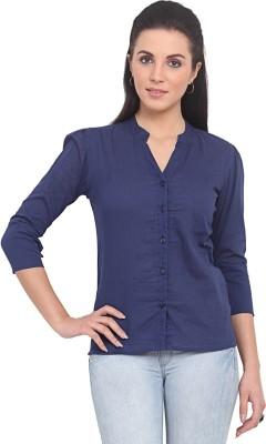 Trend Arrest Women's Solid Casual Blue Shirt