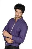 FUKREY Men's Solid Casual Purple Shirt