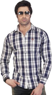 Eden Elliot Men's Checkered Casual White Shirt